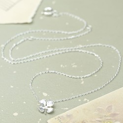 Estella Bartlett Silver Lucky Four Leaf Clover Necklace
