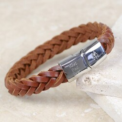 Engraved Men's Tan Woven Leather Bracelet