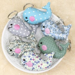 Fabric Whale Keyring