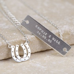 Personalised Double Horseshoe Necklace in Silver