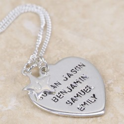 Personalised Sterling Silver Heart and Star Necklace