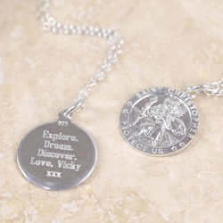 Personalised Sterling Silver St Christopher Token Necklace