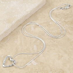 Personalised Sterling Silver Heart Outline Necklace