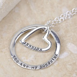 Personalised Eternity Hoop and Heart Necklace