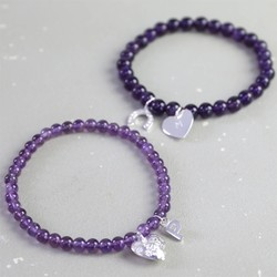 Personalised Amethyst Bead Stretch Bracelet in Silver
