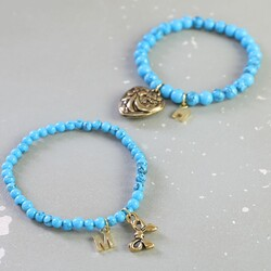 Personalised Turquoise Bead Stretch Bracelet in Gold