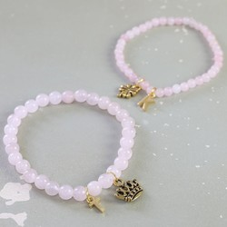 Personalised Rose Quartz Bead Stretch Bracelet in Gold