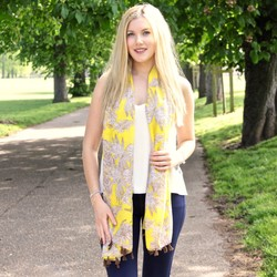 Vintage Botanical Tassel Scarf in Yellow