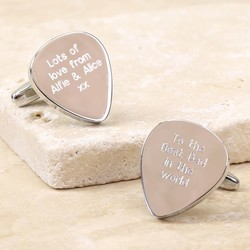 Personalised Silver Plectrum Cufflinks