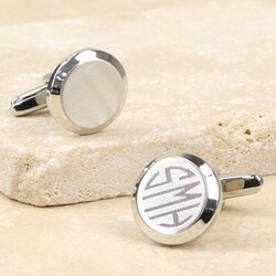 Personalised Circular Silver Cufflinks