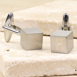 Personalised Silver Cube Cufflinks