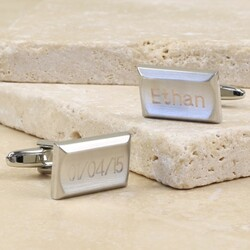Personalised Silver Concave Rectangle Cufflinks