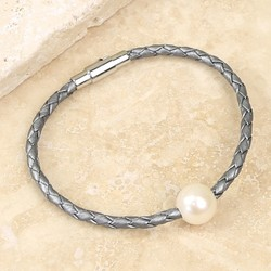 Woven Grey Leather and Pearl Bead Bracelet