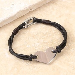 Silver Heart and Dark Brown Leather Bracelet