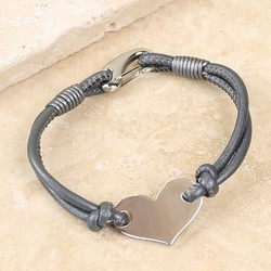 Silver Heart and Grey Leather Bracelet