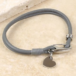 Light Grey Leather Bracelet with Heart Charm