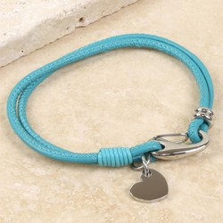 Turquoise Leather Bracelet with Heart Charm