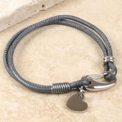 Dark Grey Leather Bracelet with Heart Charm