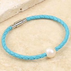 Woven Turquoise Leather and Pearl Bead Bracelet