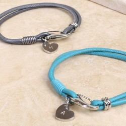 Personalised Leather Bracelet with Heart Charm