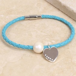 Personalised Woven Leather and Pearl Bead Bracelet
