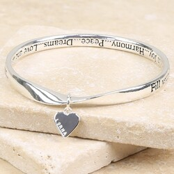 Personalised Meaningful Words 'Joy' Charm Bangle