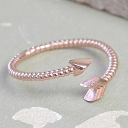 Rose Gold Wrapped Arrow Ring