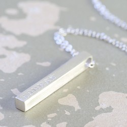 Personalised Sterling Silver Bar Necklace - Brushed