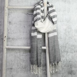 Striped Scarf in Grey and White