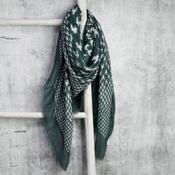 Houndstooth Square Scarf in Smoky Teal