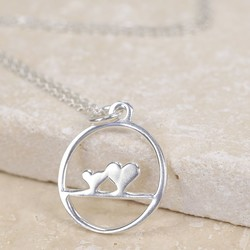Sterling Silver Double Heart Circle Necklace