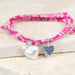 Personalised Liberty Pink Printed Fabric Charm Bracelet with Heart