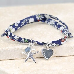 Personalised Liberty Purple Printed Fabric Charm Bracelet with Starfish