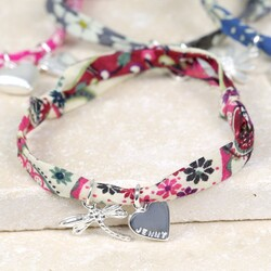 Personalised Liberty Printed Fabric Charm Bracelet with Dragonfly