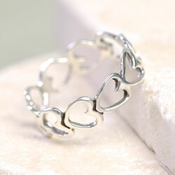 Sterling Silver Outline Band of Hearts Ring