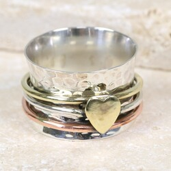 Mixed Metal Heart Spinning Ring