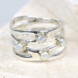 Sterling Silver Pearl Wave Ring