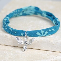 Liberty Teal Printed Fabric Charm Bracelet with Bee