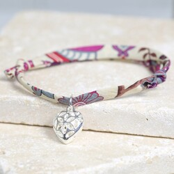 Liberty Printed Fabric Charm Bracelet with Filigree Heart