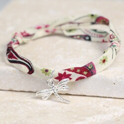 Liberty Printed Fabric Charm Bracelet with Dragonfly