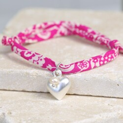 Liberty Pink Printed Fabric Charm Bracelet with Heart