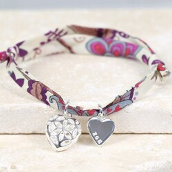 Personalised Liberty Printed Fabric Charm Bracelet with Filigree Heart