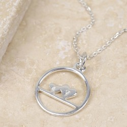 Personalised Sterling Silver Double Heart Circle Necklace