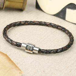 Men's Engraved Monogram Leather Bracelet in Brown