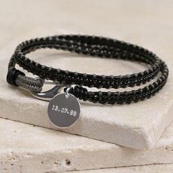 Men's Personalised Black Leather Fusion Wrap Bracelet