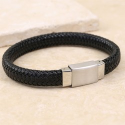 Men's Black Woven Leather Bracelet with Square Clasp