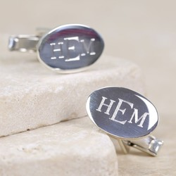 Sterling Silver Engraved Monogram Oval Cufflinks
