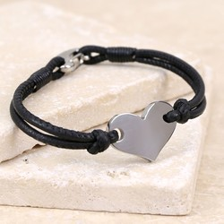 Silver Heart and Black Leather Bracelet