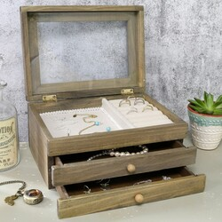 Wooden Jewellery Box with Drawer