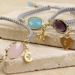 Personalised Birthstone Friendship Bracelet with Initial